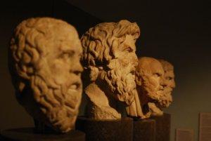 Vier Philosophen-Büsten, Seitansicht