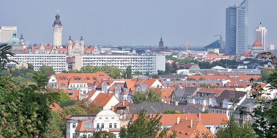 Blick vom Fockeberg in Leipzig Richtung Norden ins Zentrum
